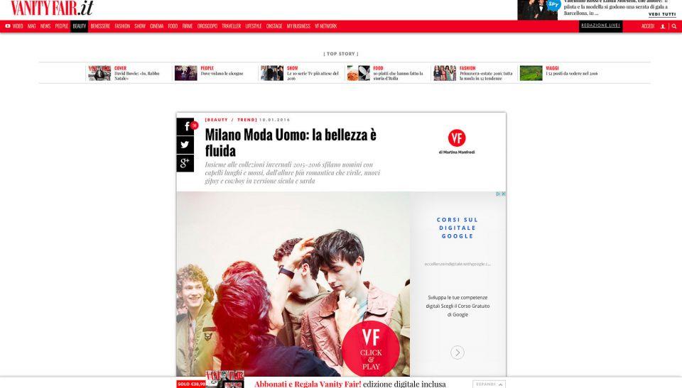 Vanity Fair Toni&Guy Italia Milano Moda Uomo Fashion Week: N21 direttore creativo Alessandro dell'Acqua Fall/Winter 2016/2017